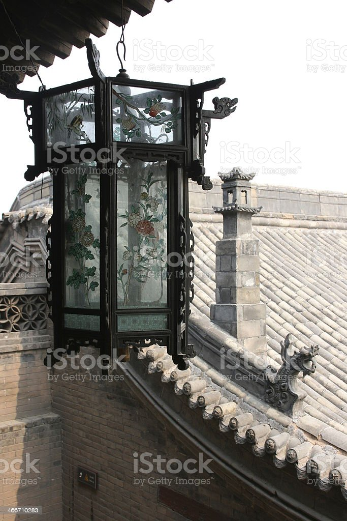 Lantern in an historical house, Pingyao, China. royalty-free stock photo
