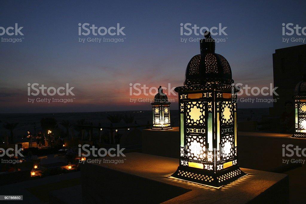 Lantern in the desert stock photo