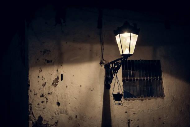 Lantern in the night stock photo