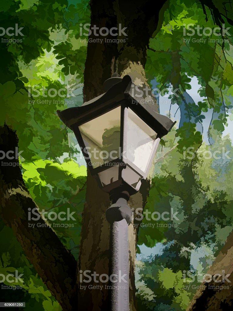 Lantern in the park stock photo