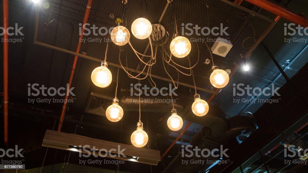 Lantern lighting antique hanging in air vent stock photo