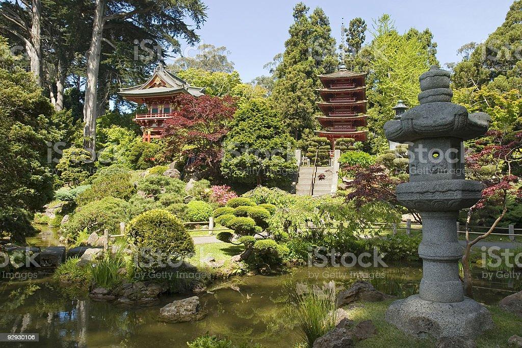 Lantern of Peace and pagoda stock photo