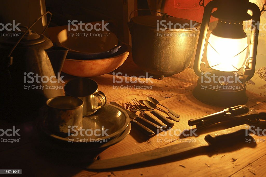 Lantern on Chuck Wagon stock photo