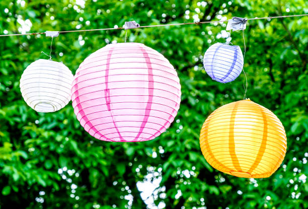 lampion - garden party stock photos and pictures