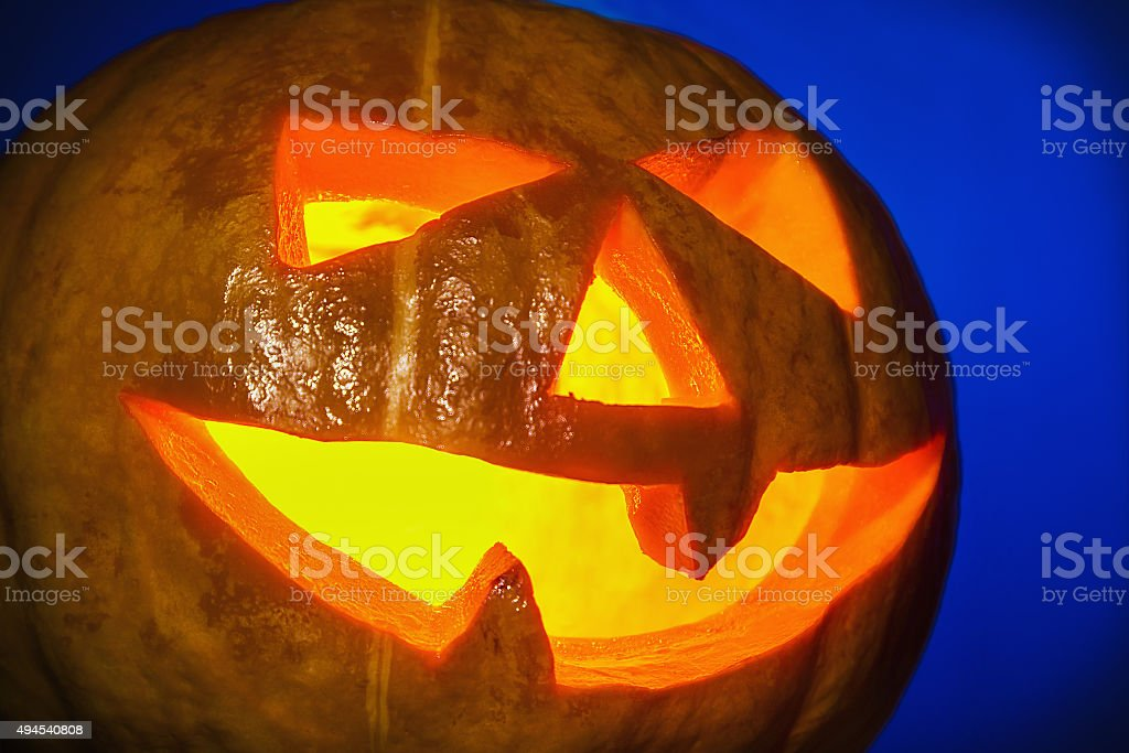 lantern pumpkin jack for Halloween stock photo