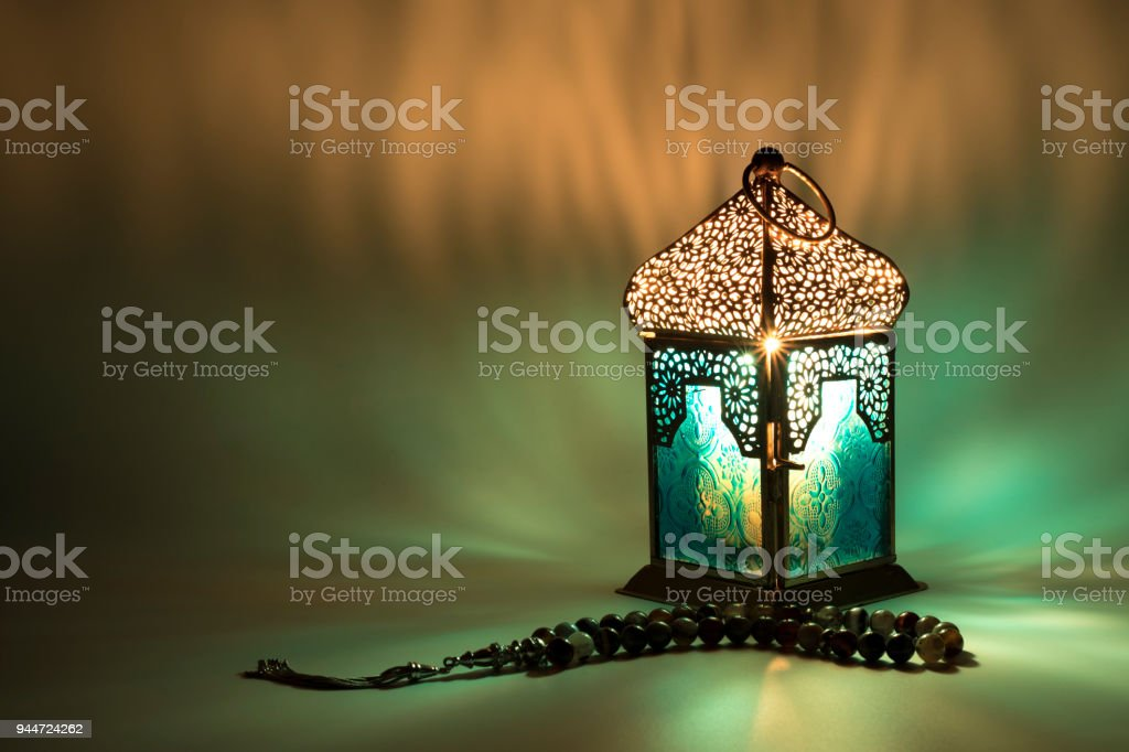 Lantern reflects a special colored lights stock photo
