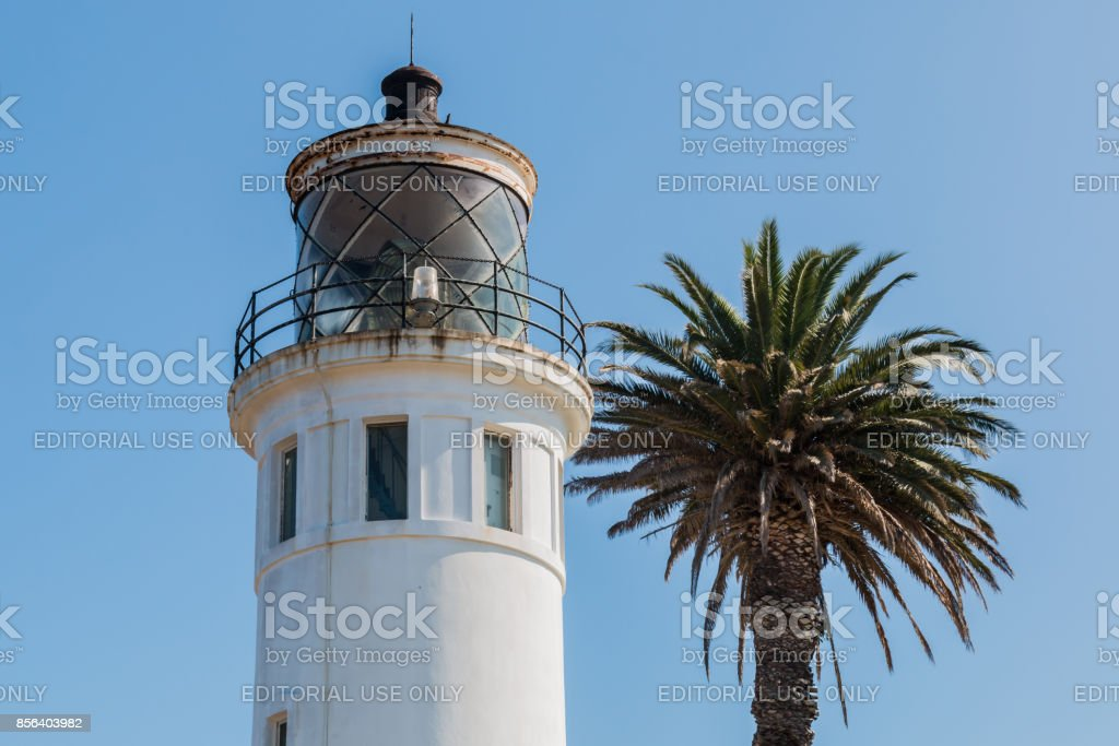 Lantern Room of Point Vicente Lighthouse in Rancho Palos Verde, CA stock photo