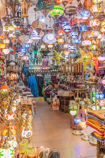 Granada, Spain - November 2, 2017: Lantern store in the center of Granada.
