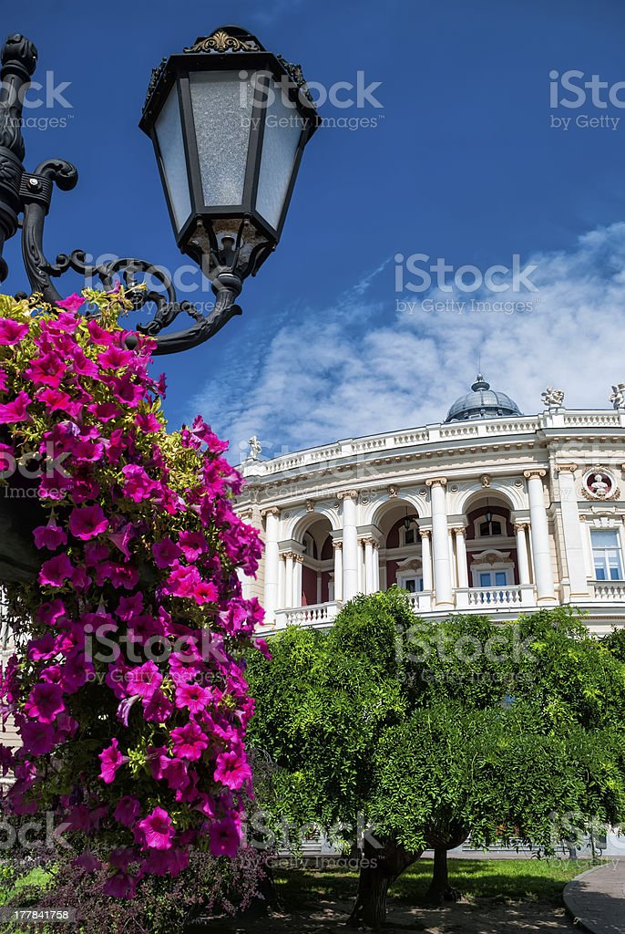 lantern with flower and ancient villa royalty-free stock photo