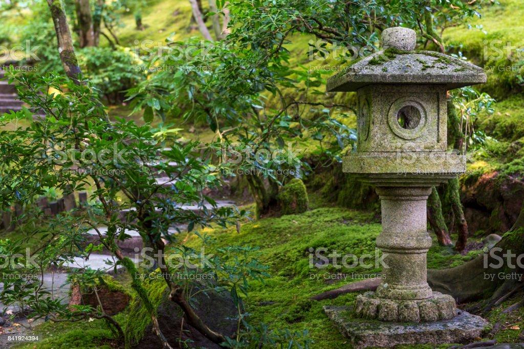Lantern With Green Plants Moss Japanese Garden Oregon ...