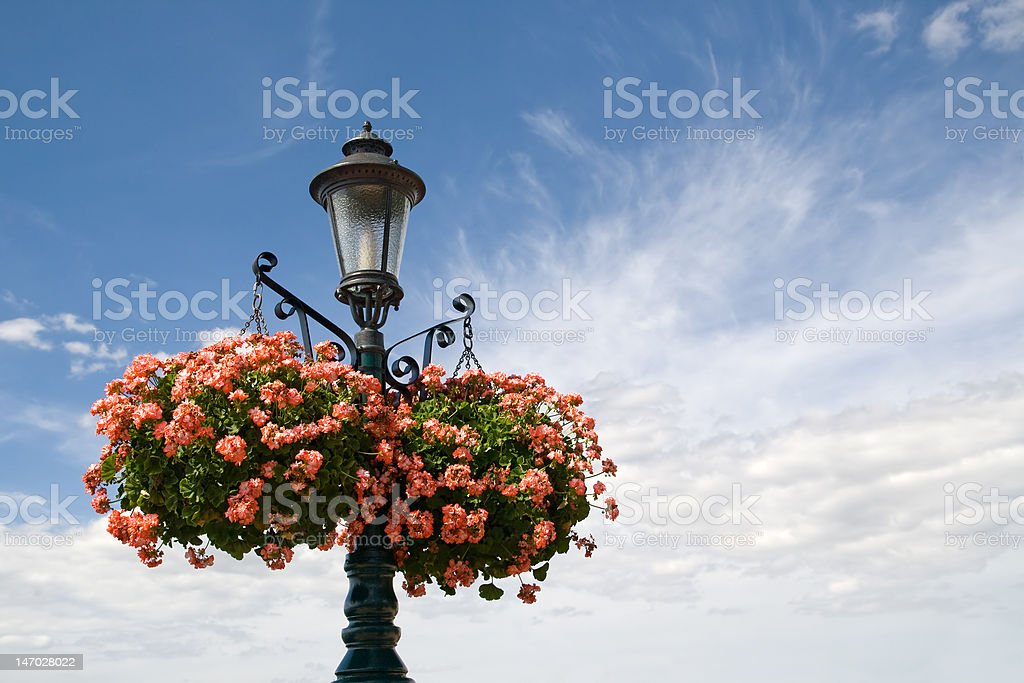 Lantern with Hanging Baskets stock photo
