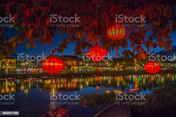 Lanterns And Colorful Lights On River In Hoi An Vietnam Stock Photo - Download Image Now