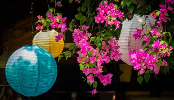 lanterns and flowers stock photo