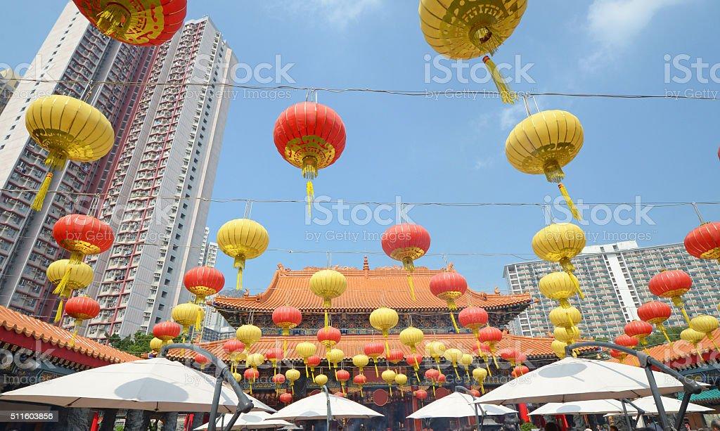 Lanterns at Wong Tai Sin Temple in Hong Kong stock photo