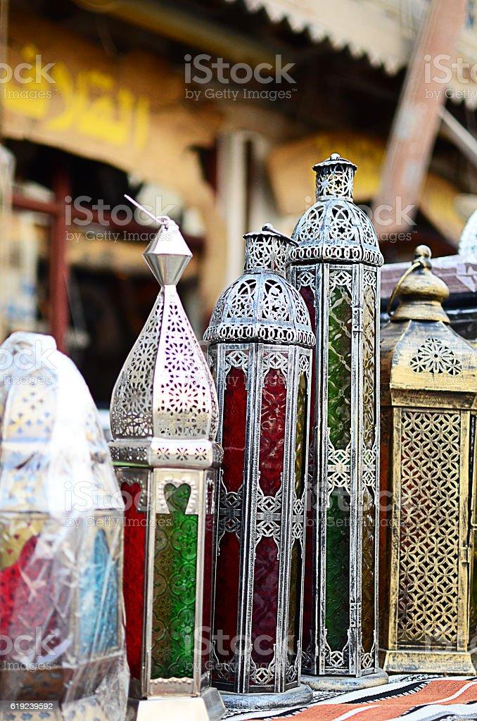 Lanterns for sale at a shop, Doha, Qatar stock photo