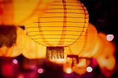 Lanterns hung up in street in Tainan.