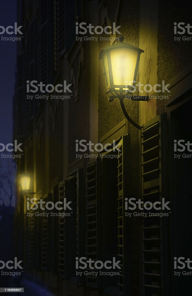 lanterns in the darkness stock photo