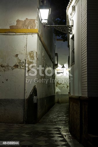 Lanterns Light An Alley In Seville Stock Photo & More Pictures of 2015