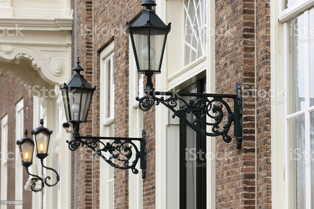 lanterns next to the front door of a house royalty-free stock photo