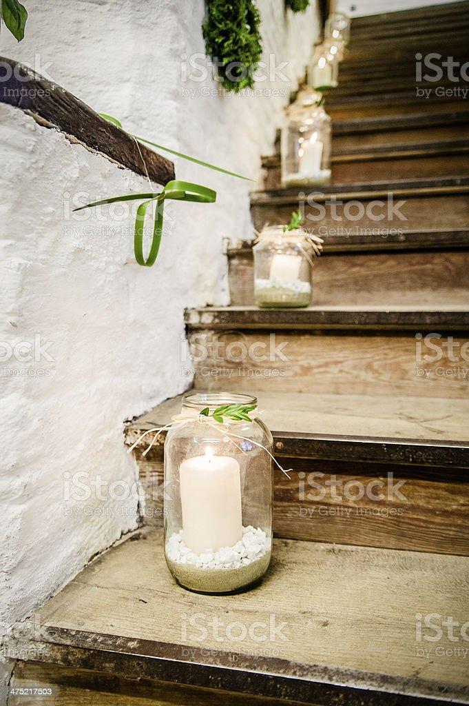 Lanterns on a Staircase stock photo