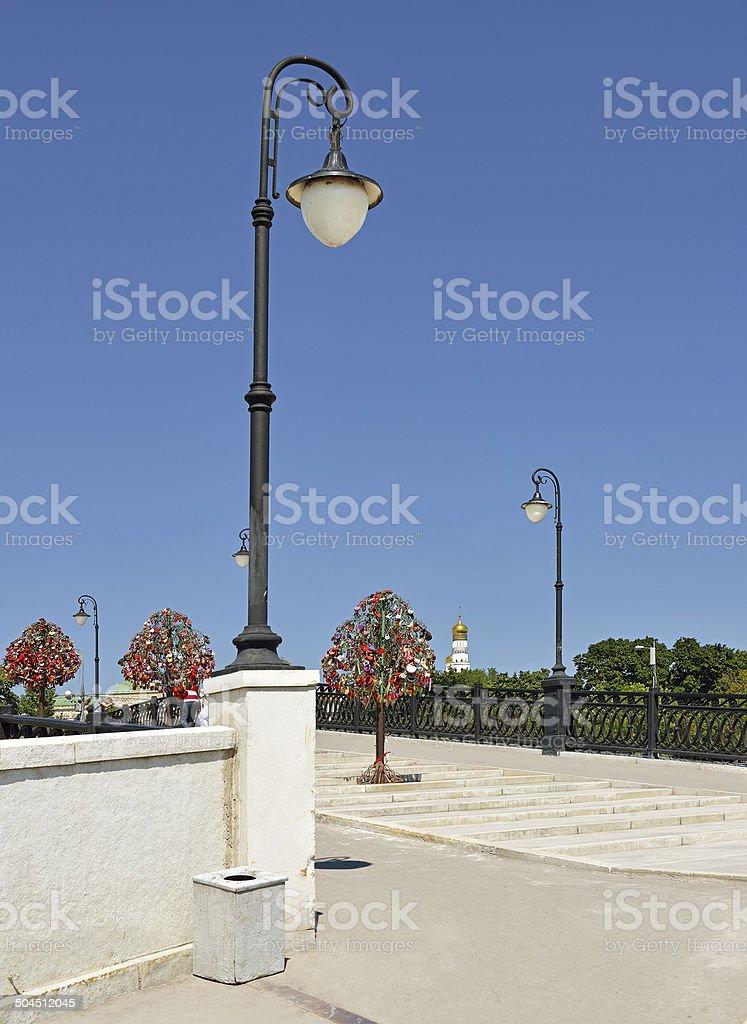 Lanterns on Luzhkov Bridge stock photo