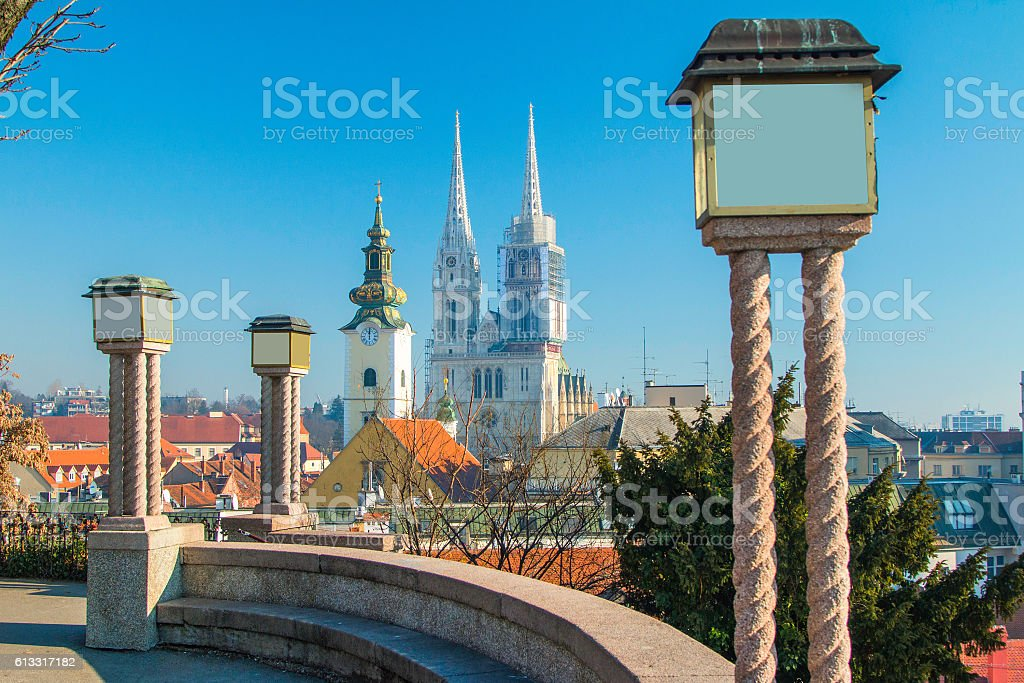 Lanterns on upper town and Zagreb cathedral, panoramic view stock photo