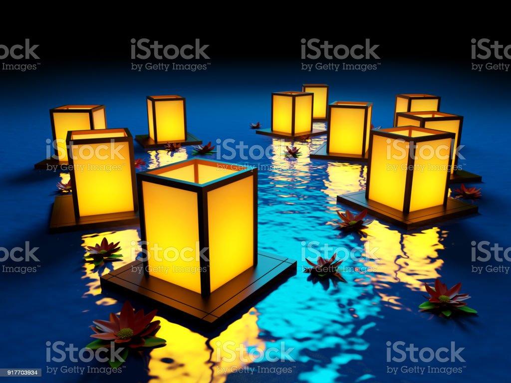 lanterns on water stock photo