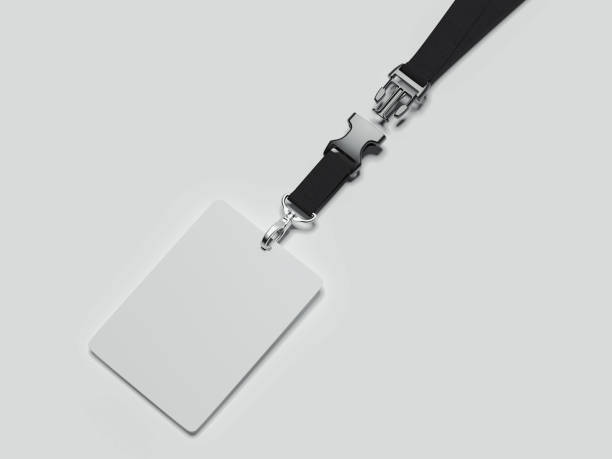 lanyard and badge with black ribbon and fastener, 3d rendering - badge logo stock pictures, royalty-free photos & images