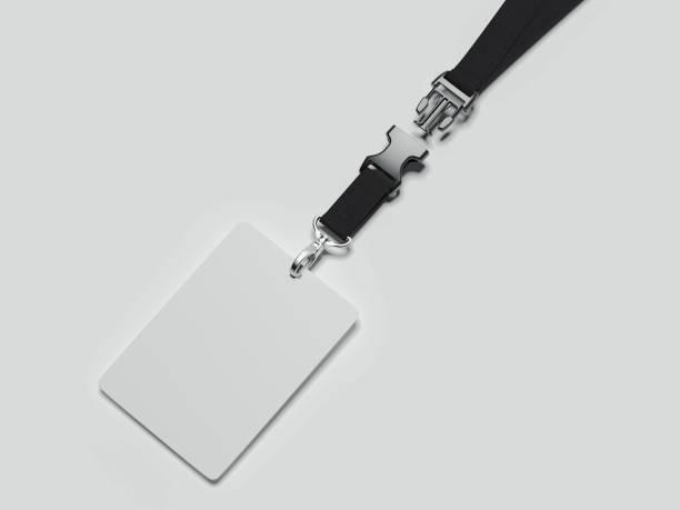 cuerda de seguridad y tarjeta de identificación con cinta negra y sujetador, render 3d - insignia símbolo fotografías e imágenes de stock