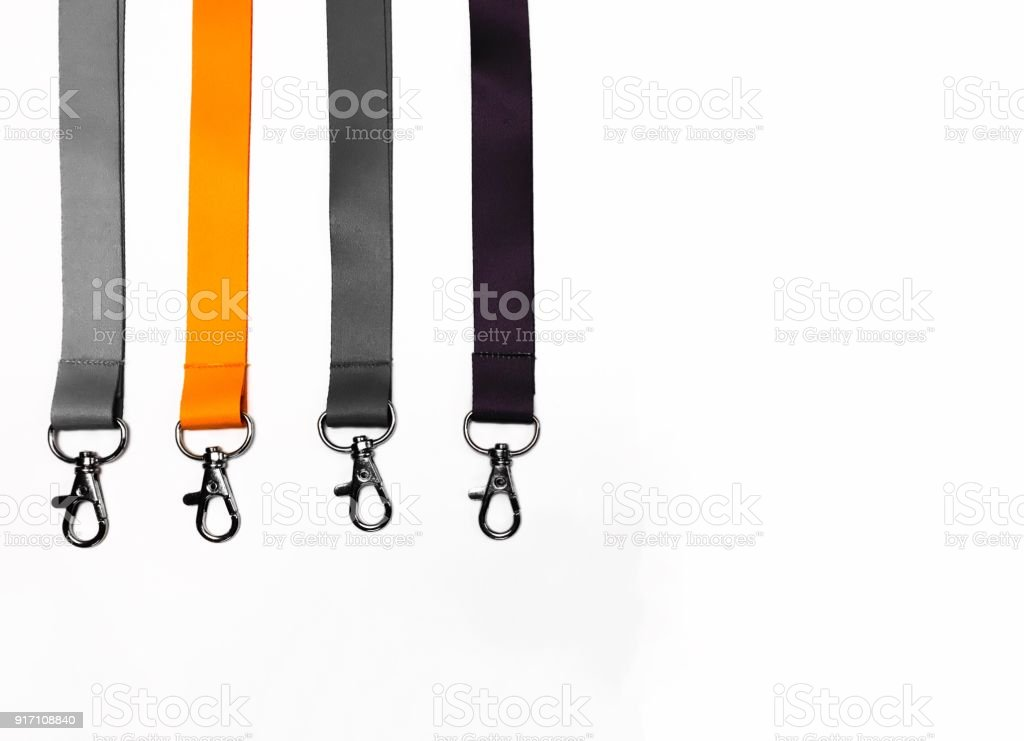 Lanyard orange and black on white background with copy space stock photo