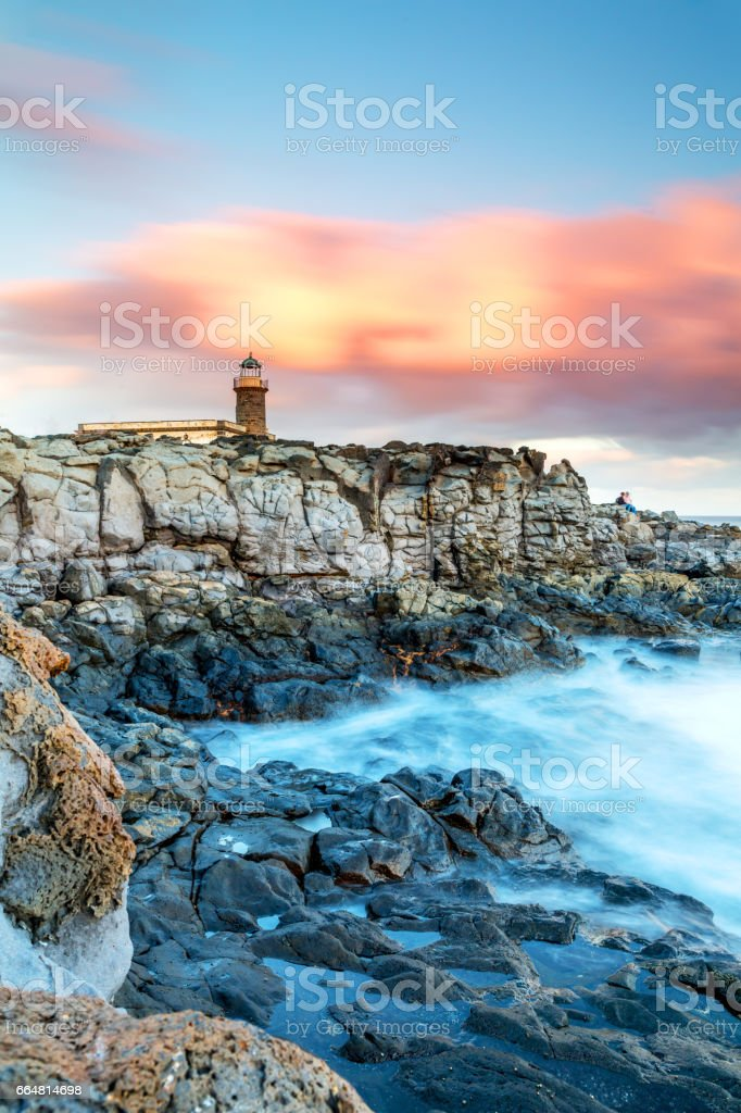Lanzarote - coast with an old lighthouse stock photo