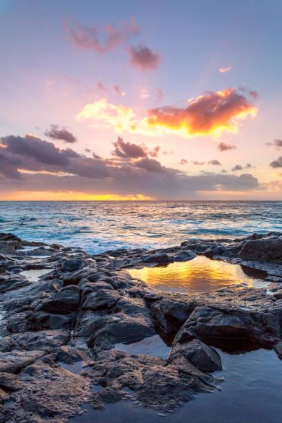 Lanzarote - goldenen Sonnenuntergang an der Küste von El Golfo – Foto