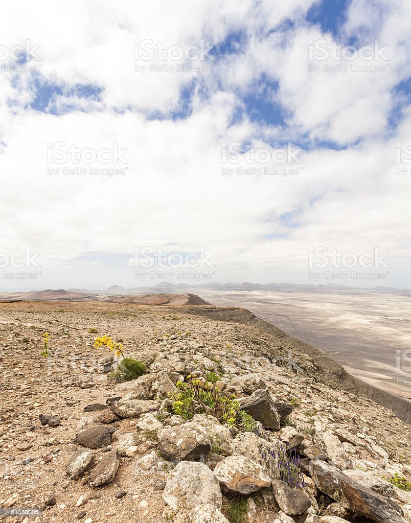 Lanzarote high point view with Timanfaya in the distance stock photo