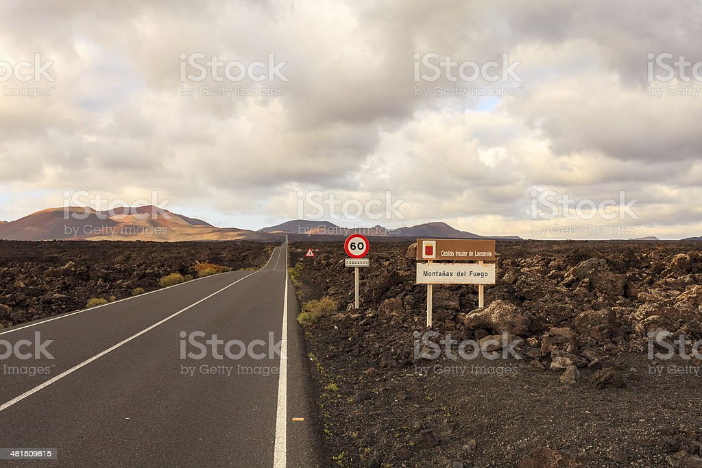 Lanzarote long road into the Timanfaya national park stock photo