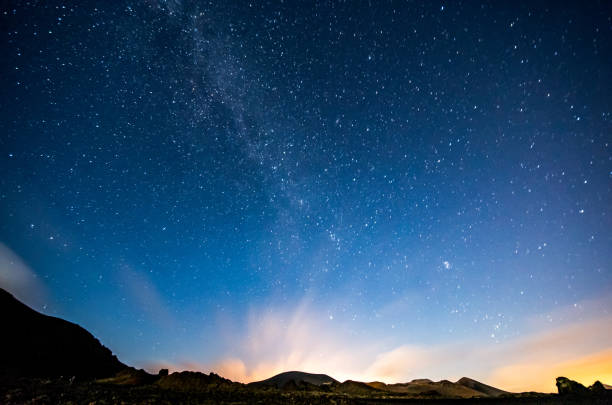 lanzarote night sky milky way stock photo