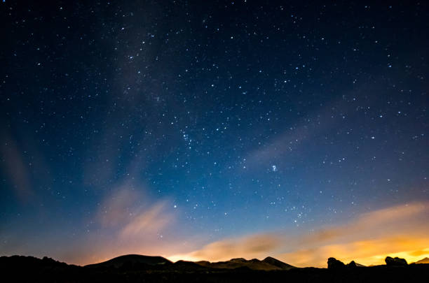 lanzarote night sky milky way - night stock photos and pictures