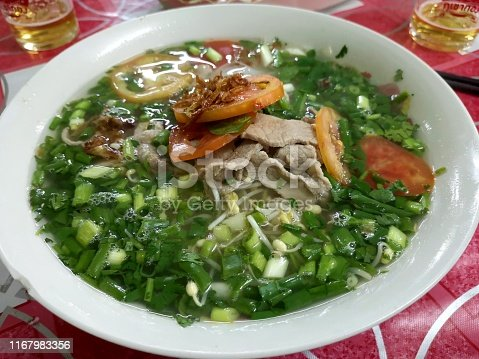 delicious bowl of beef noodle soup in Laos
