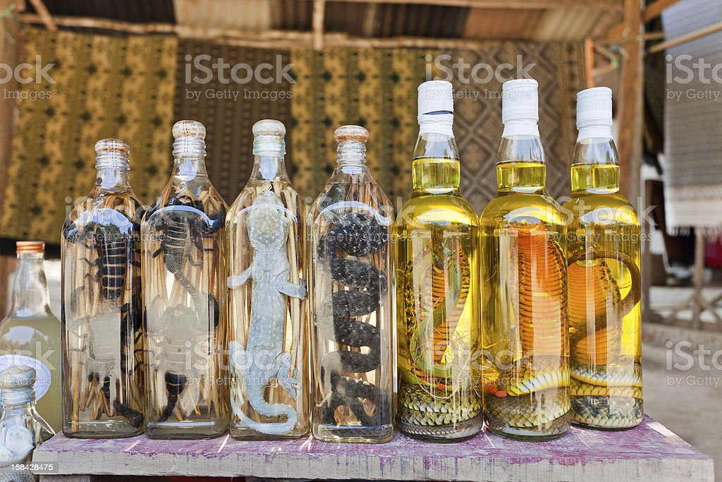Lao Whiskey With Snakes And Scorpions royalty-free stock photo