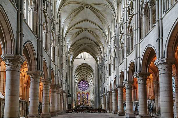 laon cathedral, france - gothic fashion stock photos and pictures
