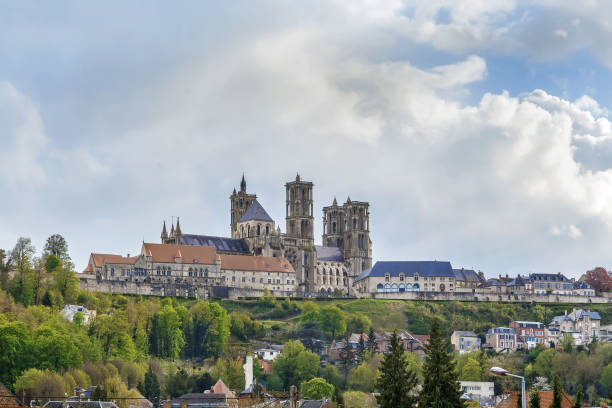 Laon Cathedral, France Laon Cathedral is one of the most important examples of the Gothic architecture of the 12th and 13th centuries located in Laon, Picardy, France. General view aisne stock pictures, royalty-free photos & images