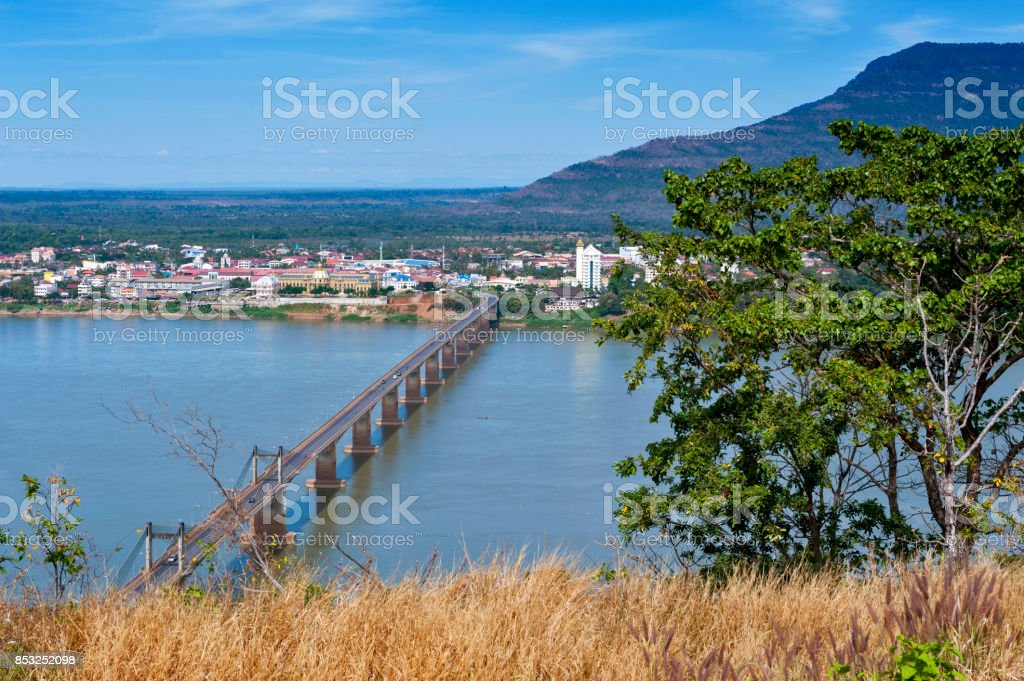 Lao-Nippon Bridge, a Japanese-funded concrete suspension bridge over Mekong River at southern Lao town of Pakse in Champasak Province, Lao PDR. stock photo