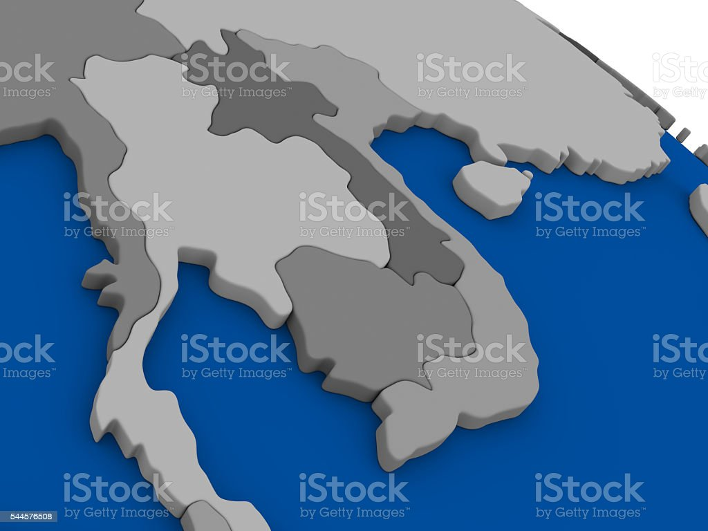 Laos And Cambodia On Political Map Stockfoto und mehr Bilder ...