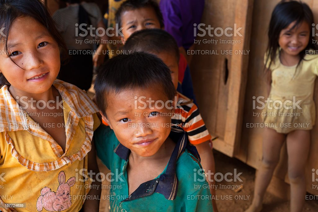 Laos kids looking at a camera stock photo
