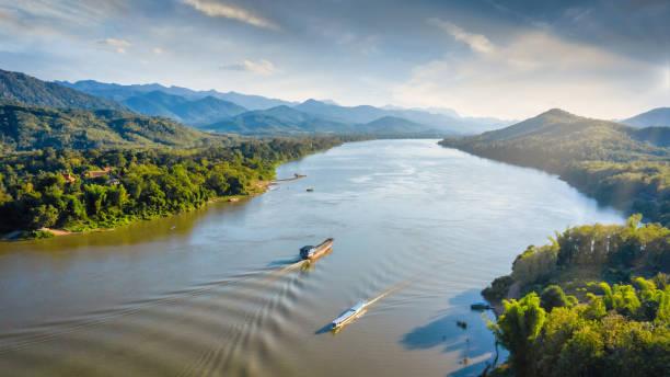 Laos Mekong River Tourboat Luang Prabang Aerial Panorama stock photo