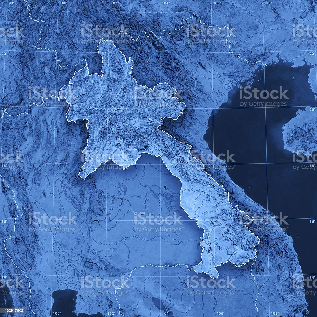 Laos Topographic Map royalty-free stock photo