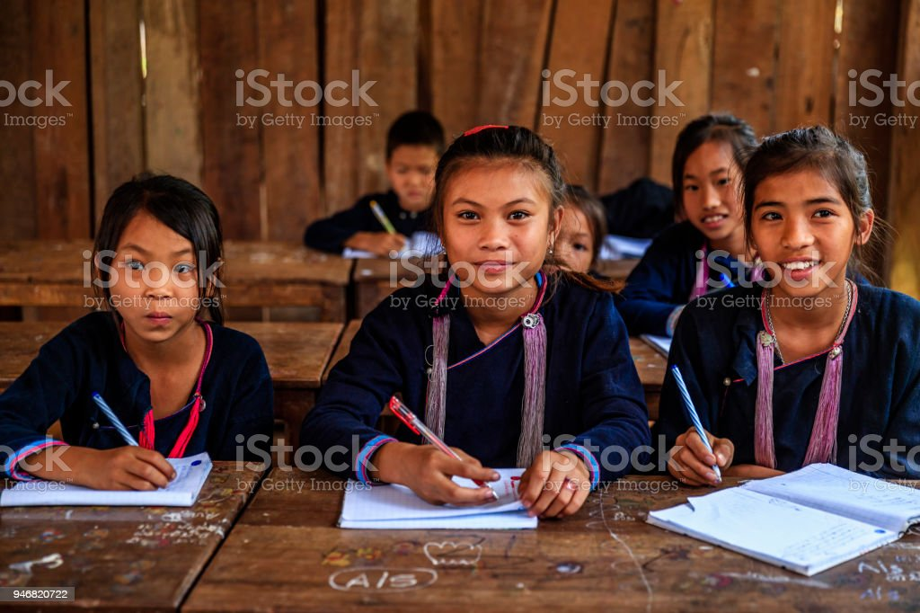 Laotian children in a primary school, village in Northern Laos stock photo