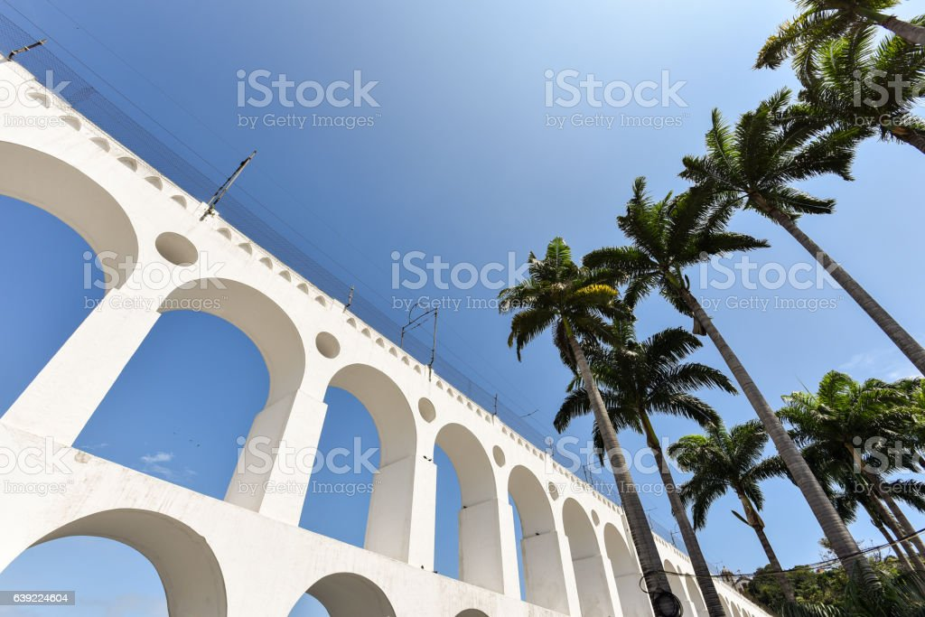 Lapa Arch and Palm Trees stock photo