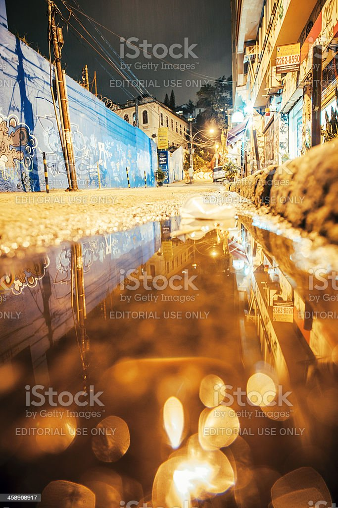 Lapa area by night. stock photo