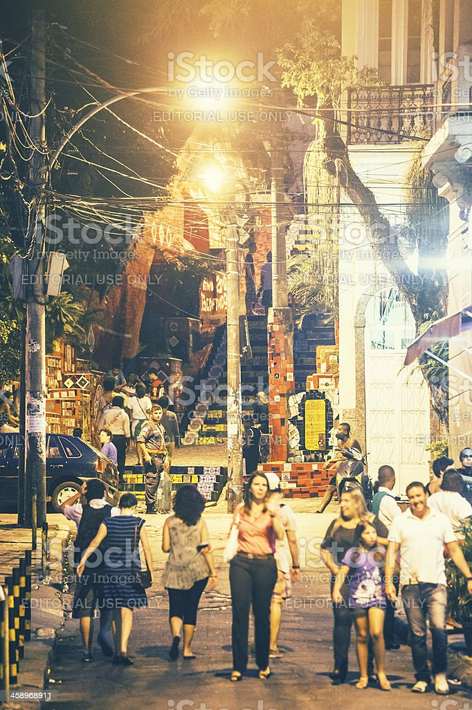 Lapa stairs by night. stock photo