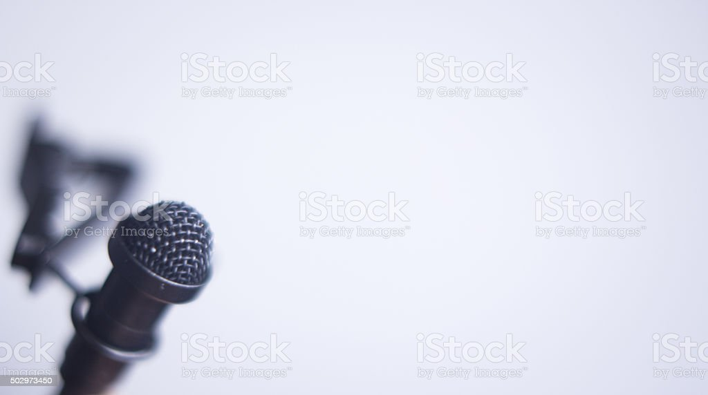 Lapel lavalier voice mini microphone stock photo